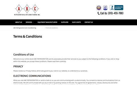 Screenshot of Terms Page abcrefrigeration.com - Terms & Conditions – ABC Refrigeration & Air Conditioning - captured Oct. 6, 2017