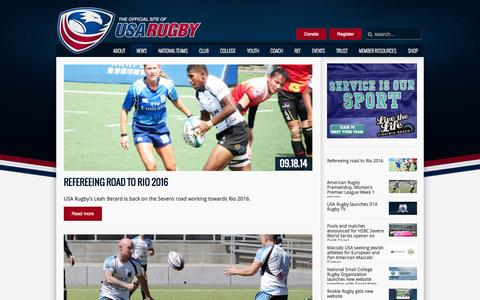Screenshot of Press Page usarugby.org - USA Rugby News - captured Sept. 19, 2014