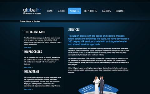 Screenshot of Services Page globalhr.me - Services  |  Global HR LLC, an Emirates Advanced Investments Group company - captured Oct. 2, 2014
