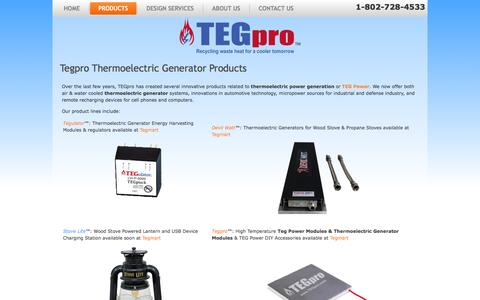 Screenshot of Products Page tegpro.com - Thermoelectric Generator (TEG) Products - TEGPRO Thermoelectric Generators and Thermoelectric Generator Modules - captured June 2, 2016