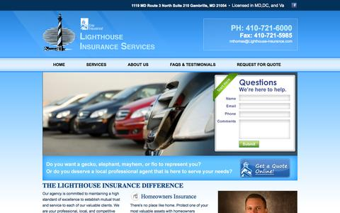 Screenshot of Home Page lighthouse-insurance.com - Welcome to Lighthouse Insurance - captured Sept. 30, 2014