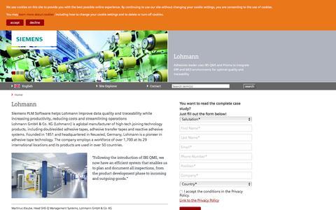 Screenshot of Case Studies Page siemens.com - Lohmann — Siemens PLM - IBS QMS - captured Sept. 2, 2017