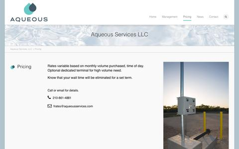 Screenshot of Pricing Page aqueousservices.com - Aqueous Services, LLC. | Pricing - captured Oct. 4, 2014