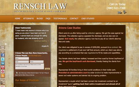 Screenshot of Case Studies Page renschlawoffice.com - Case Studies at Rensch Law | Rensch Law Offices - captured Oct. 8, 2014