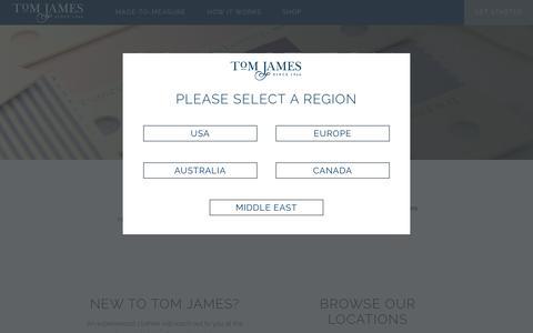 Screenshot of Contact Page tomjames.com - Contact Tom James Company  Find a Clothier   Locations - captured Dec. 2, 2016