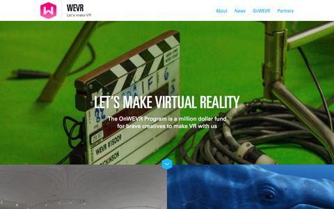 Screenshot of Home Page wemolab.com - WEVR | Let's make VR - captured July 3, 2015
