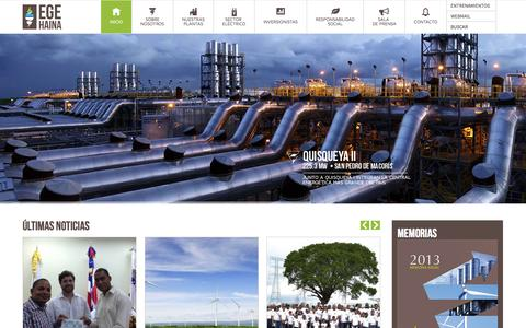 Screenshot of Home Page egehaina.com - EGE Haina - Energia que potencia el Desarrollo - captured Sept. 26, 2014