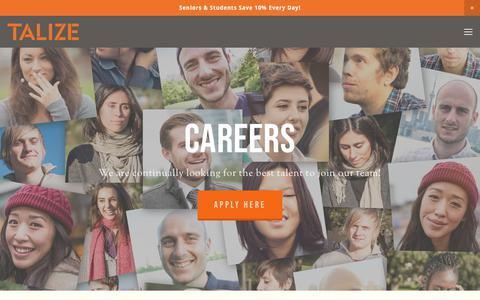 Screenshot of Jobs Page talize.com - Talize Thrift Store  — Careers - captured Sept. 21, 2018