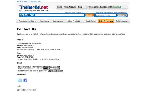 Screenshot of Contact Page Hours Page thenerds.net - Contact Us - TheNerds.net - captured Sept. 24, 2014