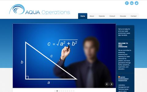 Screenshot of Home Page aquaoperations.com - Aqua Operations — - captured Oct. 4, 2014