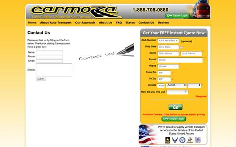 Screenshot of Contact Page carmoza.com - Carmoza.com – Contact Us – Your Shipping and Vehicle Source - captured Oct. 2, 2014
