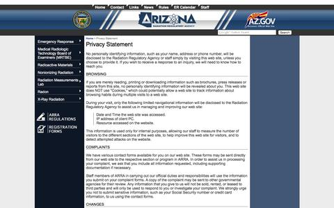 Screenshot of Privacy Page azrra.gov - ARRA - Arizona Radiation Regulatory Agency | Privacy Statement - captured Feb. 6, 2016