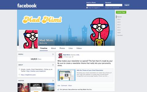 Screenshot of Facebook Page facebook.com - Mad Mimi | Facebook - captured Oct. 22, 2014