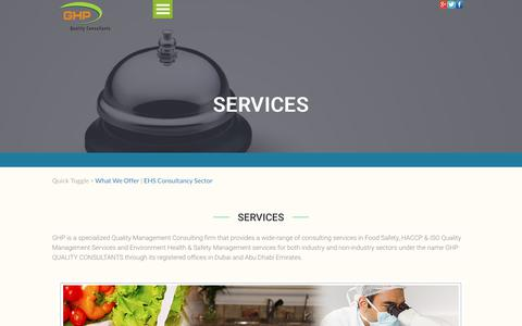 Screenshot of Services Page ghpgroupme.com - GHP Quality Consultants | Services - Testing and Calibration, HACCP Training, Air Quality Monitoring - captured July 13, 2017