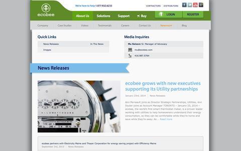 Screenshot of Press Page ecobee.com captured Sept. 15, 2014