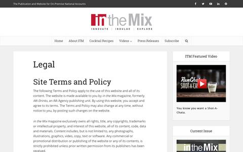 Screenshot of Terms Page on-premise.com - Legal - in the Mix Magazine - captured Oct. 16, 2017