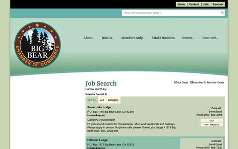 Screenshot of Jobs Page bigbearchamber.com - Job Search - Big Bear Chamber of Commerce, CA - captured Oct. 5, 2018