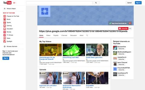 Screenshot of YouTube Page youtube.com - https://plus.google.com/b/108049762047523957518/108049762047523957518/posts  - YouTube - captured Oct. 25, 2014