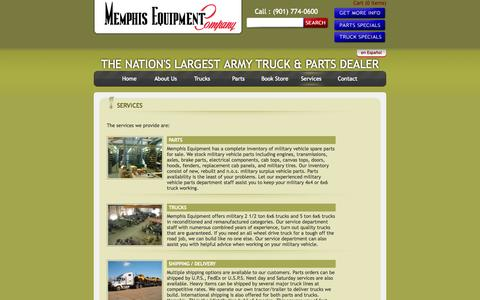 Screenshot of Services Page memphisequipment.com - Military vehicles for sale | Army surplus vehicles | Military vehicle parts & engines - captured Oct. 27, 2014
