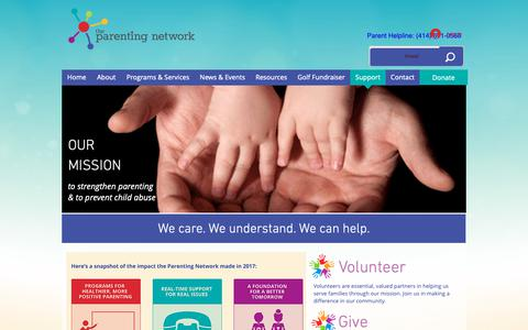 Screenshot of Support Page theparentingnetwork.org - Support   United States   The Parenting Network - captured Oct. 20, 2018