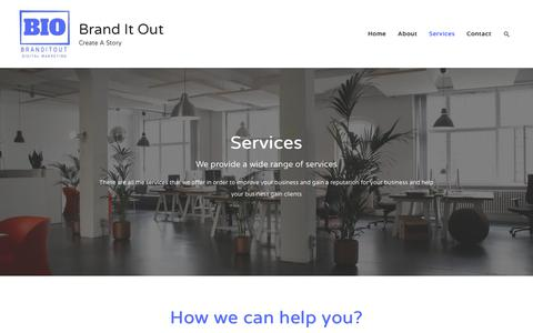 Screenshot of Services Page branditout.com - Services | Brand It Out - captured Nov. 6, 2018