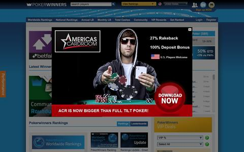 Screenshot of Home Page pokerwinners.com - Online Poker Rankings, Strategy & Training, Videos, Community | PokerWinners - captured Feb. 2, 2016
