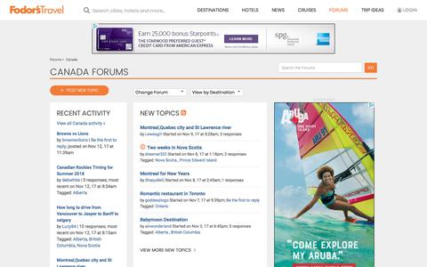 Canada Forum | Fodor's Travel Talk Forums