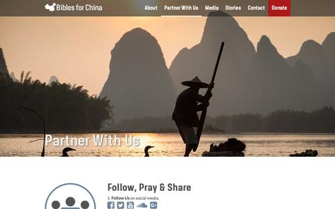 Screenshot of Signup Page biblesforchina.org - Partner With Us | Bibles for China - captured Nov. 6, 2018