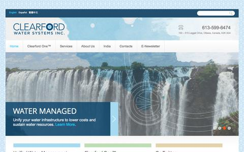 Screenshot of Home Page clearford.com - Clearford – Water Managed   - captured Jan. 28, 2016
