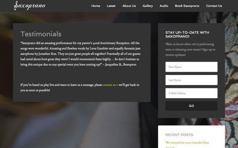 Screenshot of Testimonials Page saxoprano.com - Testimonials - captured Sept. 30, 2014