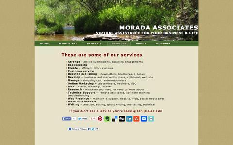 Screenshot of Services Page moradava.com - Services Offered | Morada Associates - captured Oct. 9, 2014