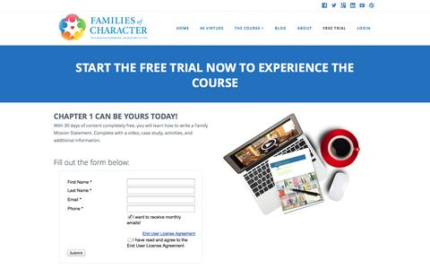 Screenshot of Trial Page familiesofcharacter.com - Start Free Trial | Families of Character - captured Sept. 30, 2014