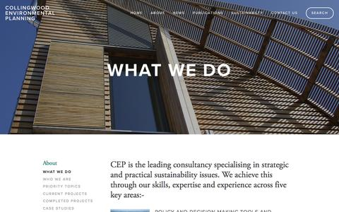 Screenshot of About Page cep.co.uk - What We Do - captured Jan. 22, 2016