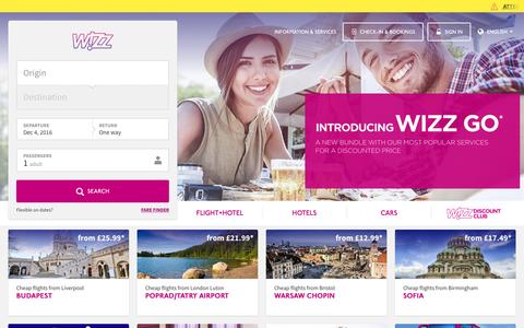 Screenshot of Home Page wizzair.com - Main page - captured Dec. 3, 2016