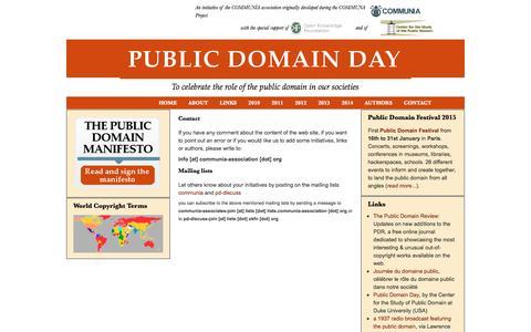 Screenshot of Contact Page publicdomainday.eu - Contact | Public Domain Day - 1 January 2012 - captured June 10, 2016