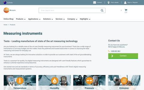 Screenshot of Products Page testo.com - Measuring instruments | Testo Australia - captured May 29, 2019