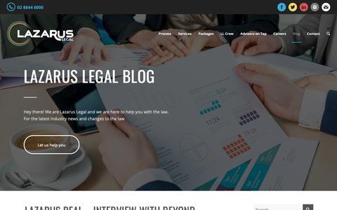 Screenshot of Blog lazaruslegal.com.au - News, Updates & Articles to help you Rise Above | Lazarus Legal - captured Sept. 27, 2018