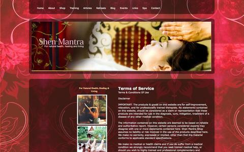 Screenshot of Terms Page shenmantra.com - Terms of Service - Shen Mantra  for natural Health, Living & Well-Being - captured Sept. 30, 2014