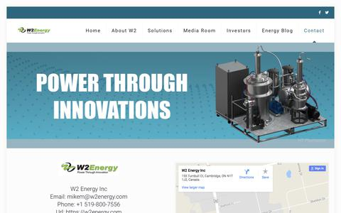 Screenshot of Contact Page w2energy.com - Contact W2 Energy   Guelph Head Office and Operations - captured Oct. 8, 2017