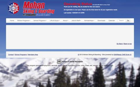 Screenshot of About Page skimohan.com - Mohan Skiing & Boarding | About - captured Oct. 26, 2014