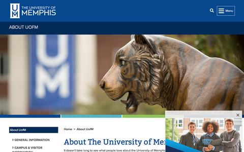 Screenshot of About Page memphis.edu - About The University of Memphis -        About UofM        - The University of Memphis - captured Aug. 12, 2019