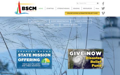 Screenshot of Home Page bscm.org - Michigan Baptists   Home - captured Oct. 10, 2017