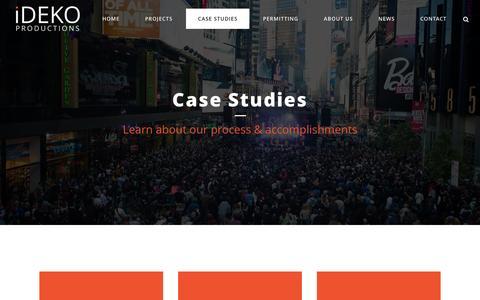 Screenshot of Case Studies Page idekoproductions.com - Case Studies - IDEKO Productions - captured Jan. 9, 2016
