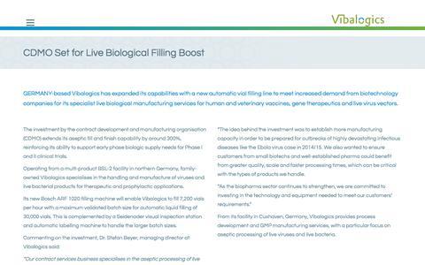 Screenshot of Press Page vibalogics.com - CDMO Set for Live Biological Filling Boost // Vibalogics GmbH - captured June 13, 2017
