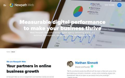 Screenshot of About Page newpathweb.com.au - Full Service Digital Agency Melbourne Australia - captured Oct. 20, 2018