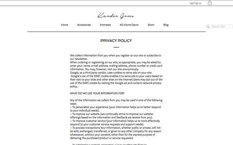 Screenshot of Privacy Page kandeegemsboutique.com - Indie Designer | Storyteller | Kandee Gems Boutique  | Privacy Policy - captured Oct. 16, 2017