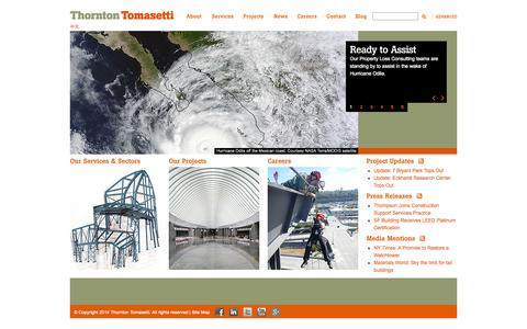 Screenshot of Home Page thorntontomasetti.com - Thornton Tomasetti - captured Sept. 23, 2014