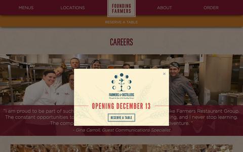 Screenshot of Jobs Page wearefoundingfarmers.com - Restaurant Jobs | DC - Montgomery County/Rockville -Tysons Corner, VA - captured Nov. 25, 2016