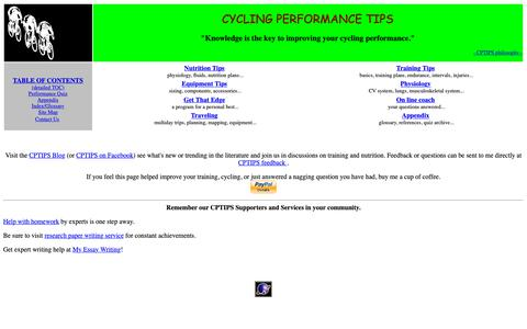 Screenshot of Home Page cptips.com - CYCLING PERFORMANCE TIPS - Main Page - captured Nov. 8, 2018