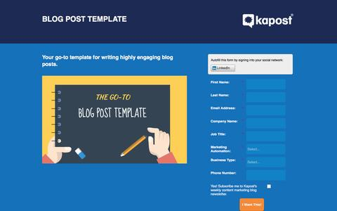 Screenshot of Landing Page kapost.com - Blog Post Template | Kapost - captured March 14, 2016